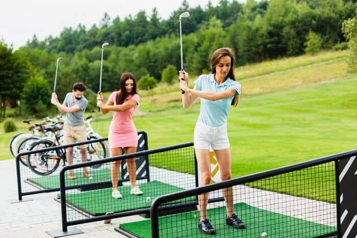 Golfers practicing in golf course