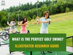 Women practicing golf swing basics in golf course