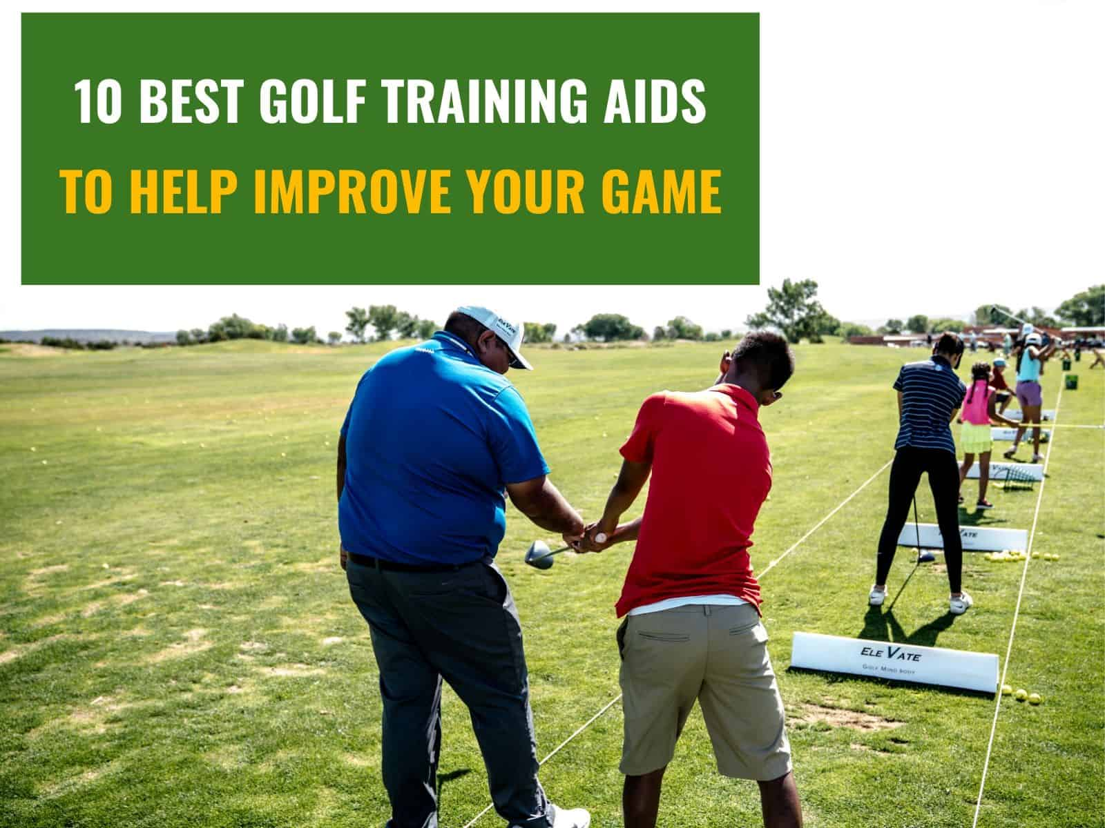 Golfers training on golf courseusing best golf training aids