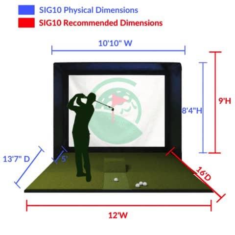Home golf simulator dimensions