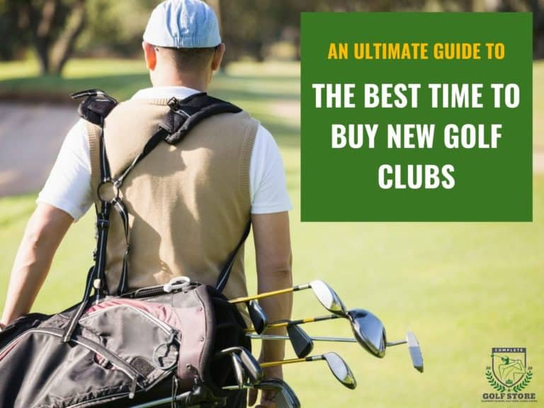 Rear view of golfer carrying golf clubs with the text: The Best Time To Buy New Golf Clubs