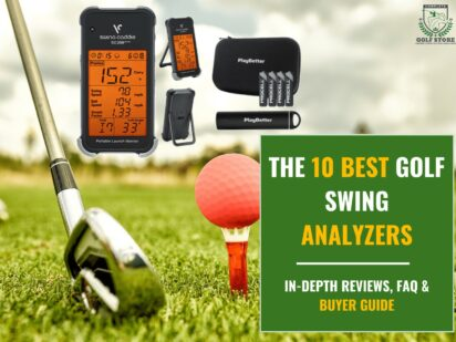 The ball at the hole on the golf course. golf concept. closeup of a golf ball on green grass next to a golf club before a hit, and a golf swing analyzer